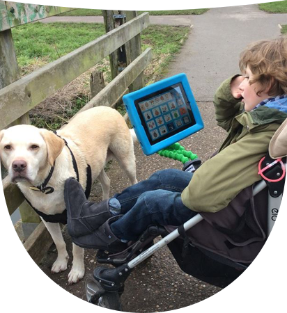 Kid with an AAC device mounted on wheelchair watching a dog in the yard